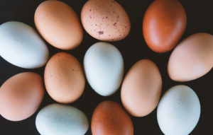 Earthy tones of chicken eggs from the farm.